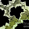 Abstract Leaf Pattern - Black White Lime Green by Natalie Kinnear