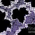Abstract Leaf Pattern - Black White Purple by Natalie Kinnear