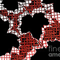 Abstract Leaf Pattern - Black White Red by Natalie Kinnear