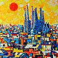 ABSTRACT SUNSET OVER SAGRADA FAMILIA IN BARCELONA Print by ANA MARIA EDULESCU