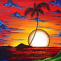 Abstract Surreal Tropical Coastal Art Original Painting Tropical Resonance By Madart by Megan Duncanson
