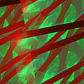 Abstract Tiled Green And Red Fractal Flame by Keith Webber Jr