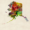 Alaska Watercolor Map by Michael Tompsett