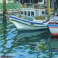 Alaskan Boats In Rippling Water by Shalece Elynne