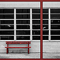 Alone - Red Bench - Windows Print by Nikolyn McDonald