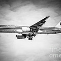 Amercian Airlines Airplane In Black And White by Paul Velgos