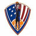 American Basketball Player Dunk Ball Shield Retro Print by Aloysius Patrimonio