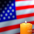 American Flag and Candle Print by Olivier Le Queinec