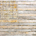 American Flag On Distressed Wood Beams White Yellow Gray And Brown Flag by Design Turnpike