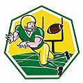 American Football Wide Receiver Catching Ball Cartoon by Aloysius Patrimonio