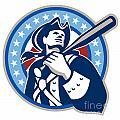 American Patriot Baseball Bat Retro by Aloysius Patrimonio
