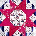 Americana Quilt Block Design Print by Valerie Garner