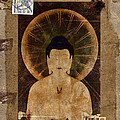 Amida Buddha Postcard Collage by Carol Leigh