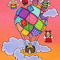 Angels With Hot Air Balloon Print by Sarah Batalka