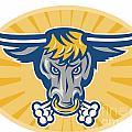 Angry Texas Longhorn Bull Head Front by Aloysius Patrimonio