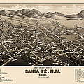 Antique Map of Santa Fe New Mexico by H. Wellge - 1882 Print by Blue Monocle