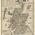 Antique Map Of Scotland By Emanuel Bowen - 1752 by Blue Monocle