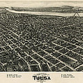 Antique Map Of Tulsa Oklahoma By Fowler And Kelly - 1918 by Blue Monocle