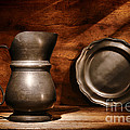 Antique Pewter Pitcher And Plate by Olivier Le Queinec
