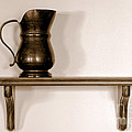 Antique Pewter Pitcher On Old Wood Shelf by Olivier Le Queinec