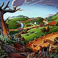 Appalachian Fall Thanksgiving Wheat Field Harvest Farm Landscape Painting - Rural Americana - Autumn