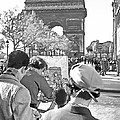 Arc De Triomphe Painter - B W by Chuck Staley