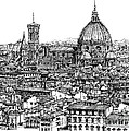 Architecture Of Florence Skyline In Ink  by Adendorff Design