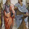Aristotle And Plato Detail Of School Of Athens by Raffaello Sanzio of Urbino