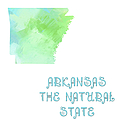 Arkansas - The Natural State - Map - State Phrase - Geology Print by Andee Design