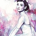 Audrey Hepburn Purple Watercolor Portrait by Olga Shvartsur