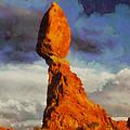 Balanced Rock at Sunset Digital Painting Print by Mark Kiver