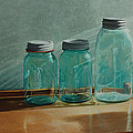 Ball Jars Take on Light Poster by Nancy Teague