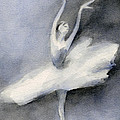 Ballerina In White Tutu Watercolor Painting by Beverly Brown Prints