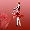 Ballerina On Pointe with Red Rose  Poster by Delores Knowles