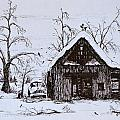 Barn and car Print by Jeannie Anderson