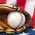Baseball And Glove On American Flag by Joe Belanger