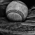 Baseball broken in black and white Print by Paul Ward