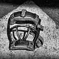 Baseball Catchers Mask Vintage In Black And White by Paul Ward