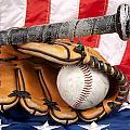 Baseball Equipment On American Flag by Joe Belanger
