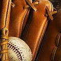 Baseball Glove And Baseball Print by Chris Knorr