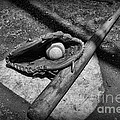 Baseball Home Plate In Black And White by Paul Ward