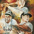 Baseball Legends Babe Ruth Jackie Robinson And Ted Williams by Christiaan Bekker