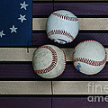 Baseballs on American Flag Folkart Print by Paul Ward