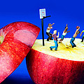 Basketball Games On The Apple Little People On Food by Paul Ge