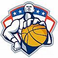 Basketball Player Holding Ball Crest Retro by Aloysius Patrimonio