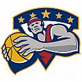 Basketball Player Holding Ball Star Retro by Aloysius Patrimonio