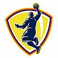 Basketballer Dunking Rebounding Ball Retro by Aloysius Patrimonio