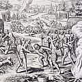 Battle Between Tuppin Tribes by Theodore De Bry