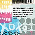 Be Strong And Courageous- Contemporary Scripture Art by Linda Woods