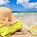 Beach Bag With Sun Hat by Amanda And Christopher Elwell